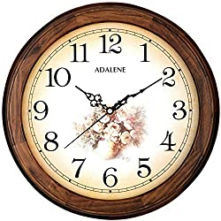 Adalene 14-Inch Wall Clocks Large Decorative Living Room Clock - Quiet Battery Operated Quartz Analog Wood Wall Clock - Round Sepia Flower Dial with Fancy Arabic Numerals, Wooden Frame