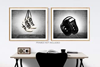 Vintage Wrestling Shoes and headgear Wall Art, Set of 2, Sports Decor, Available as print or canvas.
