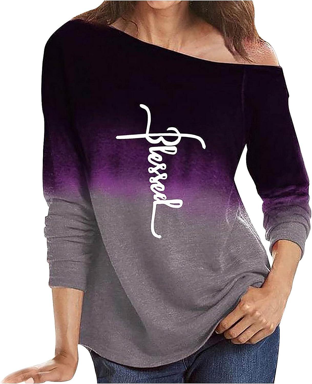 ODJOY-FAN Women's Long Sleeve Tops Round Neck Tie dye Letter Printing T-Shirts Plus Size Fashion Loose Outdoor Sweatshirts