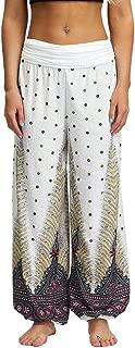 PEIZH Summer Women Pants Thai Harem Trousers Boho Printed Loose Casual Festival Hippy Smock High Waist Yoga Pants