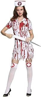 Zunbo Nurse Cosplay Halloween Costume Adult Bloody Doctor Horrible Shirt Dress