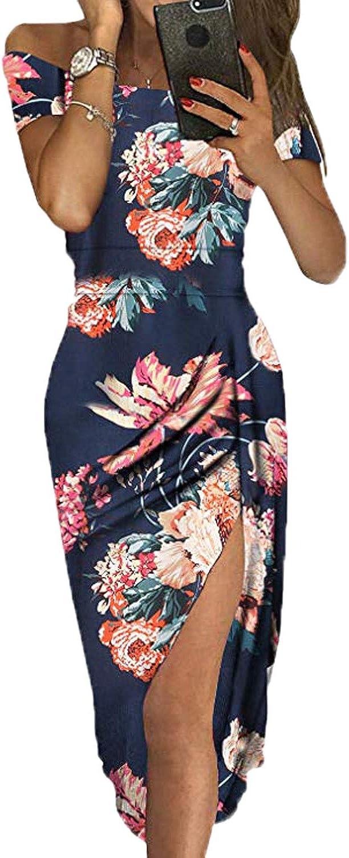 kenoce Women's Off Shoulder Cocktail Dress Floral Print High Slit Formal Midi Evening Party Dresses