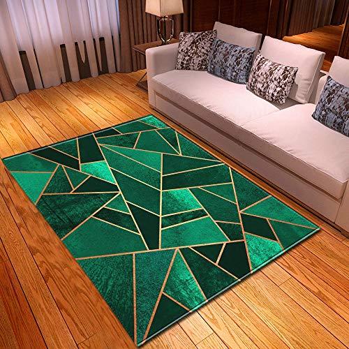 qijidzswyxgs Designer Rug Grande Tapis De Salon décoratifs Modernes antidérapant,Lavable,résistant Tapis géométrique élégant Ligne Ligne Or Vert émeraude 120x170CM
