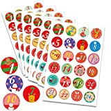 HOWAF 192pcs Pegatina Navidad Calendario de Adviento, 1-24 número de Pegatinas de Calendario de adviento Decoración Cajas Regalos Bombones Caramelo Fiesta Bolsas