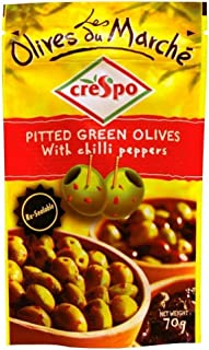 Crespo Aceitunas Verdes Sin Hueso Con Guindillas (70g) (Paquete de 2)
