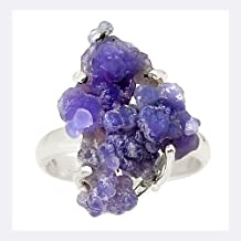 Xtremegems Grape Agate Crystal Chalcedony 925 Sterling Silver Ring Jewelry Size 8.5 23782R