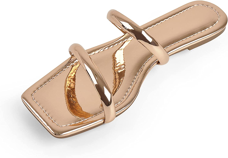 LISHAN Women's Square Open Toe Two Straps Slides Flats Sandals