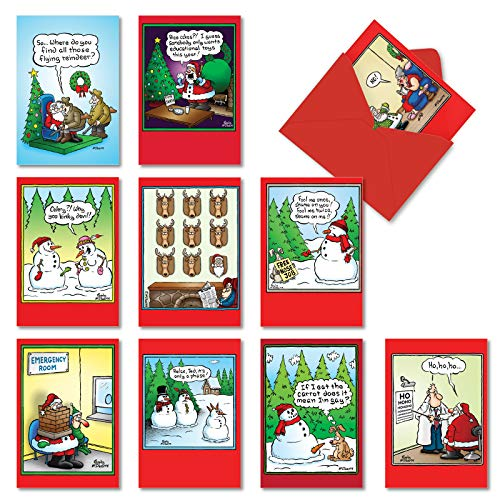 NobleWorks - 10 Assorted Funny Cards for Christmas - Cartoon Humor, Boxed Happy Holiday Notecards with Envelopes - Holly Jolly Rice Cakes A5557XSG-B1x10