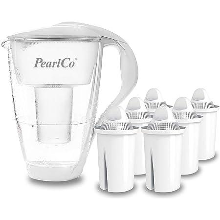 PearlCo - Carafe avec filtre à eau en verre - blanc - 6 cartouches Universal classic incluse (compatible avec Brita Classic)