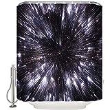 Elaine-Shop Stoff Duschvorhänge wasserdichte Duschvorhänge für Badezimmer, Druckbadvorhänge Set mit 12 Haken - Galaxy 36 * 72in