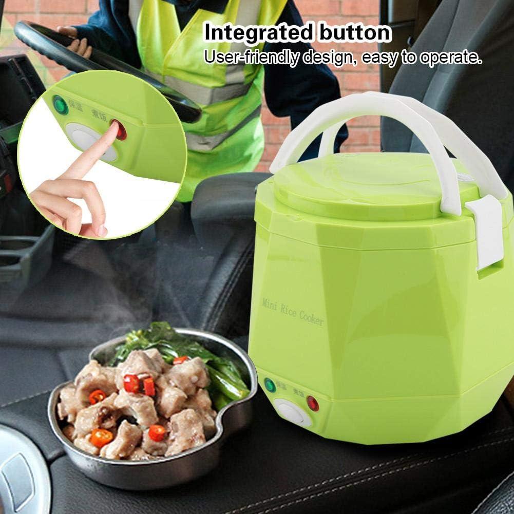 1.3L 24V 140W Mini Cuociriso per Camion Riscaldamento Lunch Box Vapore per Alimenti Fornelli Riso Bento Heater Scatola Pranzo Riscaldamento per il Conducente del Camion Green