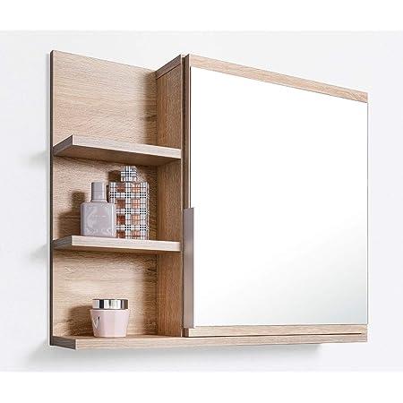 DOMTECH Home Decor Armario de baño con espejo y estantes, espejo de baño, roble Sonoma, L