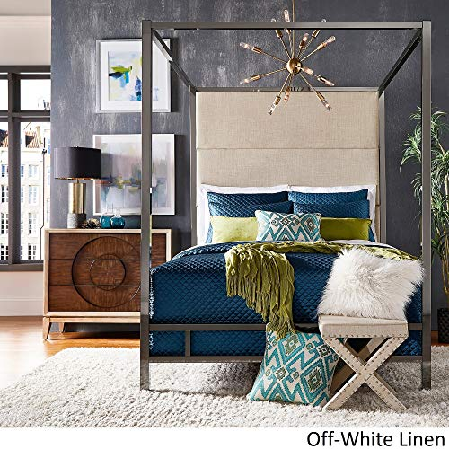 Inspire Q Evie Black Nickel Metal Canopy Bed with Linen Panel adboard by Bold Off White Queen