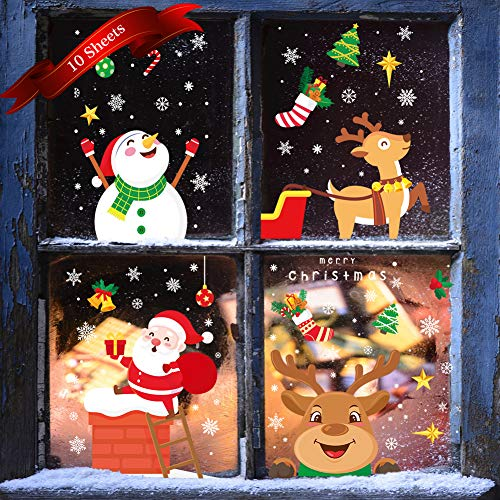 KNMY Weihnachtsdeko Fensterbilder, Wiederverwendbar Weihnachten Fenstersticker, DIY Weihnachten Fensterdeko Set, Weihnachtsmann Süße Elche Schneemann Schneeflocken Statisch Aufkleber