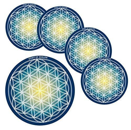 Energie Untersetzer Blume des Lebens/Flower of Life + 2 Buddha Geschenkkarten - Yoga Esoterik Spiritualität Astrologie Meditation Energie