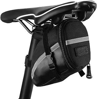 otutun - Bolsa para sillín de Bicicleta, Impermeable, con Soporte para luz Trasera y Elementos Reflectantes para Bicicletas de montaña, Bicicletas y Bicicletas de Carreras, Color Negro
