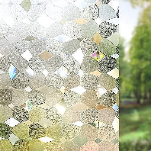 LMKJ Película para Ventanas de privacidad película autoadhesiva Decorativa 3D Pegatina de Ventana extraíble película de Vidrio de Ventana de protección UV
