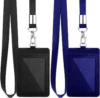 Lot de 2 porte-badges verticaux en cuir synthétique avec cordon en nylon amovible de 45,7 cm pour bureau, école, permis de...