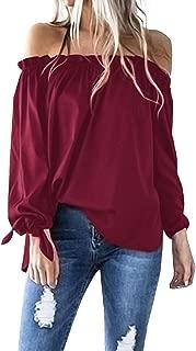 ACHIOOWA Women's Sexy Tops Off Shoulder Long Sleeve Blouse Tunic Swing Casual T-Shirt