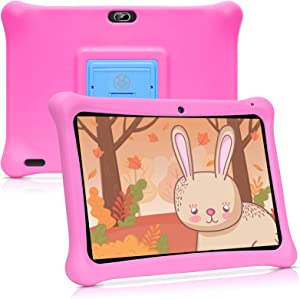 qunyiCO Y10 Kids Tablet 10 inch, 2GB RAM 32GB Storage Android 10.0 WiFi Camera Bluetooth HD Touch Screen 1280 x 800 Kid-Proof Case Parental Control Learning App on Google Certified Playstore Pink …