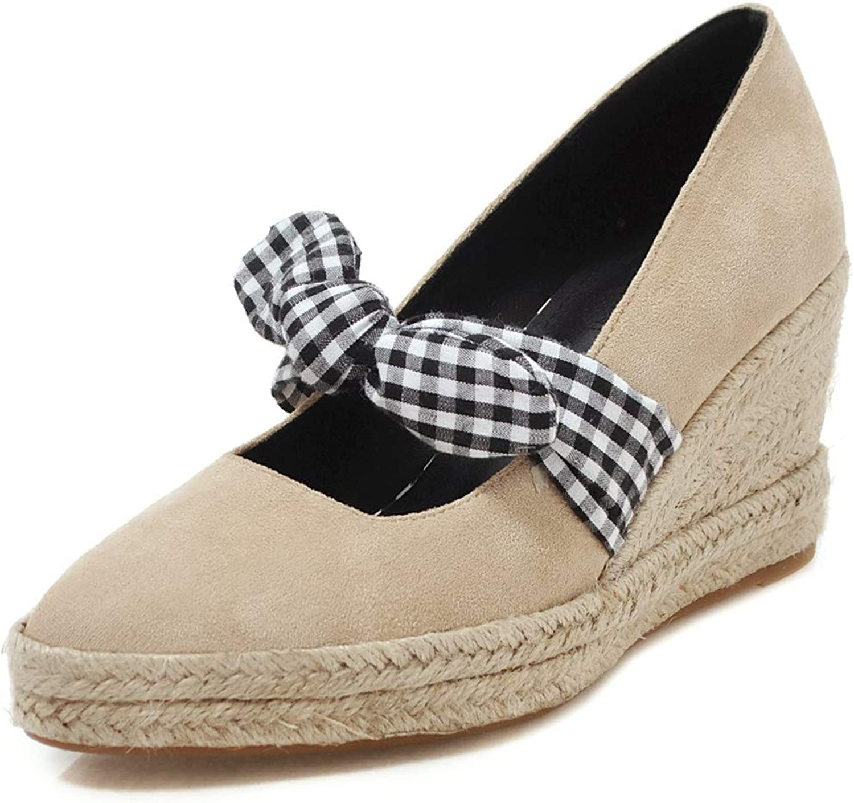 DoraTasia Women's Thick Platform Wedge High Heels Bow Espadrilles Pumps, Casual Slip On Strappy Bohemian Flax Walking Beach shoes