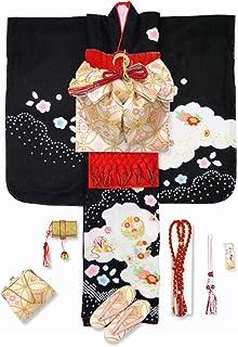 七五三 7歳 着物 フルセット 正絹 女の子 本絞り 刺繍入りの子供着物 結び帯セット「黒 鞠と花輪」HSK627f1709RR