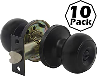 Gobrico Black Interior Door Lockset Privacy Door Knobs for Bedroom Bathroom,no Key, Flat Ball Style,10Pack