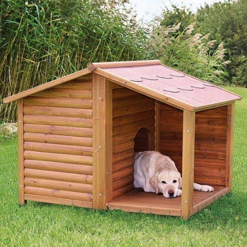 【ALLFORWAN'sLIFE】ドッグハウス ドイツTRIXIE 屋外用犬小屋 ナチュラドッグケンネル サドルルーフ ブラウン M-L 屋外用 大型犬 木製 テラス付き 屋根オープン仕様