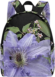 Flowers Mauve Clematis Wax Arrangement School Backpacks Kids Book Bag Teen Student Girl Women College Rucksack Bookbag Fashion Travel Daypack