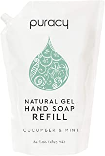 Puracy Natural Gel Hand Soap Refill, Cucumber & Mint, 64 Ounce, Skin Softening Liquid Hand Wash