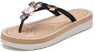 GIY Women's Summer Crossover Thong Straps Sandals Design Slides Flip Flops Flat Sandals
