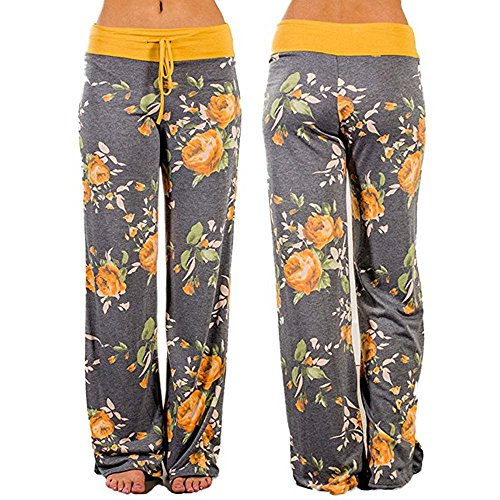 Women's Yellow Rose Floral Print Lounge Pants, S to 3Xl