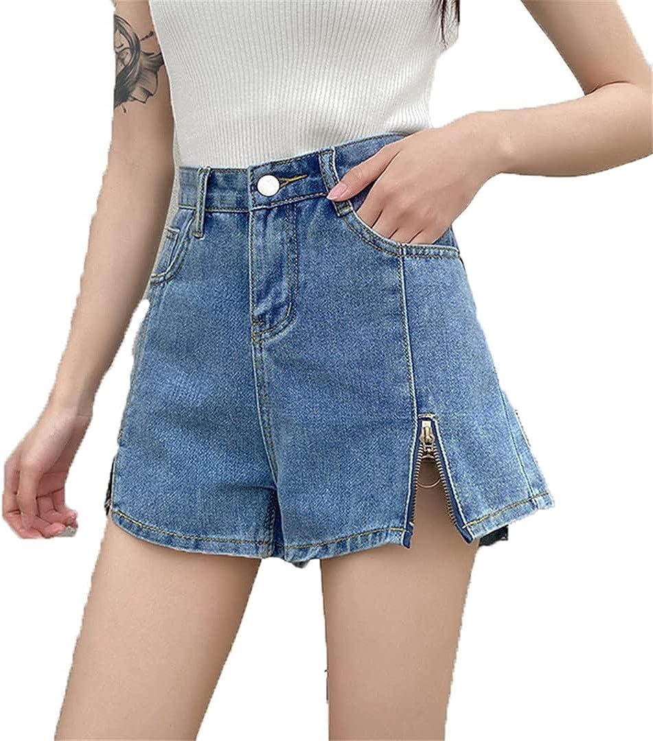 Summer Women's High Waist Loose Denim Split Zipper Wide Leg Ladies Jeans Shorts