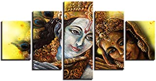 MZWLH Kits Hd Printed Pictures Wall Art Poster 5 Pieces Divine Couple Lord Krishna Radha Canvas Paintings for Living Room Decor