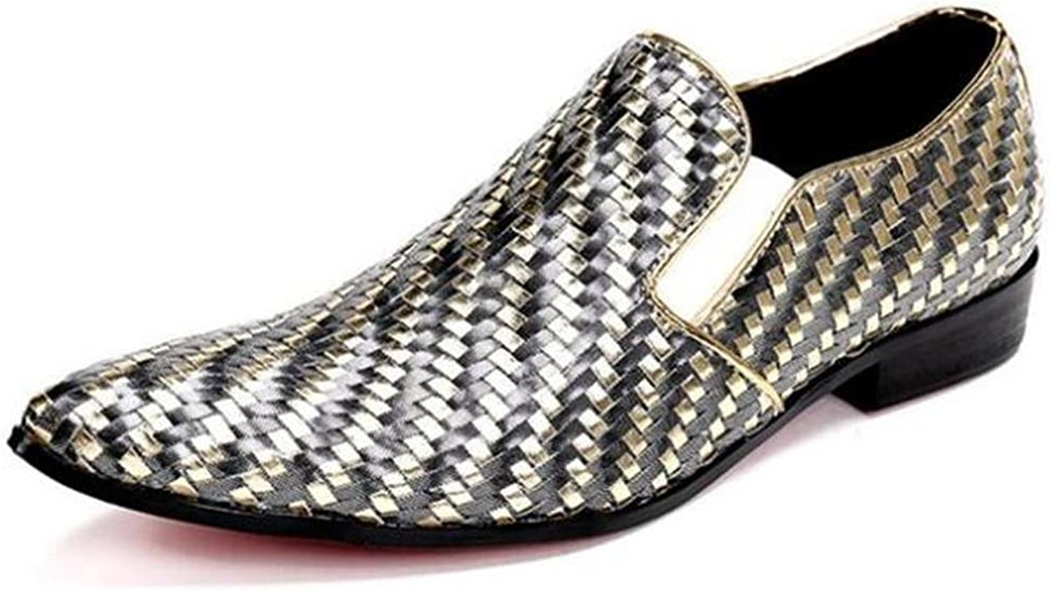 Men shoes Weaving Leather Night Club Dress Party Metal Toe Barber Size 38 To 45