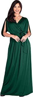 KOH KOH Womens Long Semi-Formal Short Sleeve V-Neck Floor Length Maxi Dress Gown