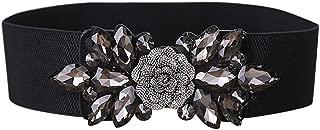 Fashion Floral Rhinestone Buckle Women's Elastic Waist Cinch Belt for Dress for Size 0-10