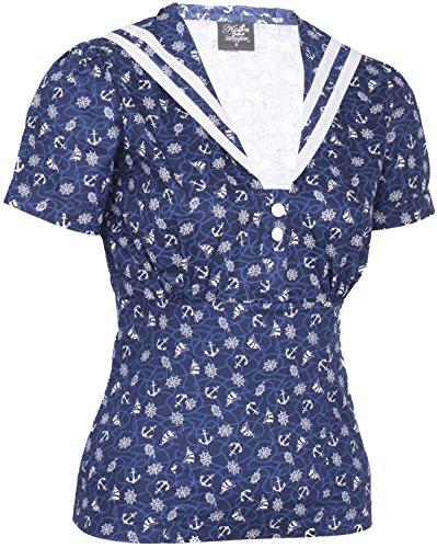 Küstenluder IRIS Sailor ANCHOR Matrosen Collar BLUSE Oberteil Rockabilly - 3