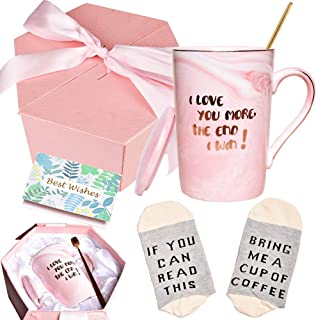 Bosmarlin Valentine's Day Gifts Coffee Mug Set for Her Wife Girlfriend Women, I Love You More The End I Win Mug, 13 oz, Pi...