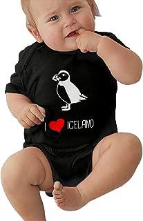 I Love Iceland Puffin Short Sleeve Baby Onesie Rompers Bodysuit for Newborn Baby