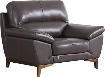 """American Eagle Furniture EK080 Mid Century Modern Italian Leather Upholstered Pillow Arms Living Room Chair, 48"""", Taupe"""