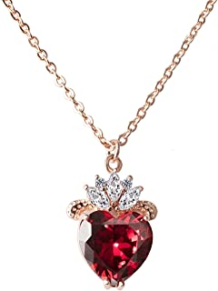 VINJEWELRY Queen of Hearts Evie Costume Necklace Descendants Ruby Red Heart Valentine's Day Sweetheart Gift for Her
