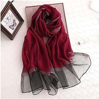 Sciarpa di seta moda femminile Sciarpe leggeri di colore solido bordeaux ampio foulard in raso quadrato