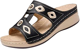 Ladies Fashion Flat Heel Slip On Sandals,Casual Vintage Sandals with Zipper COPPEN Women Comfy Sandals