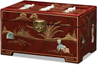 China Furniture Online Jewelry Box, Red Lacquer Finish with Mother of Pearl Inlay