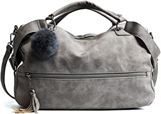 DOFE Ladies Large Capacity Crossbody Handbag with Tassel and Pom Pom Ball,Soft PU Leather Shoulder Bag.