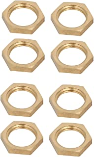 uxcell 1/4BSP Female Thread Brass Pipe Fitting Hex Lock Nut 8pcs
