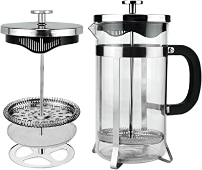 French Press Coffee Maker, 33 oz/1000ml Durable 304 Grade Stainless Steel Coffee Presses, Heat Resistant Borosilicate Glass Coffee Pot Percolator, Easy Cleaning Tea Maker Filters - Silver