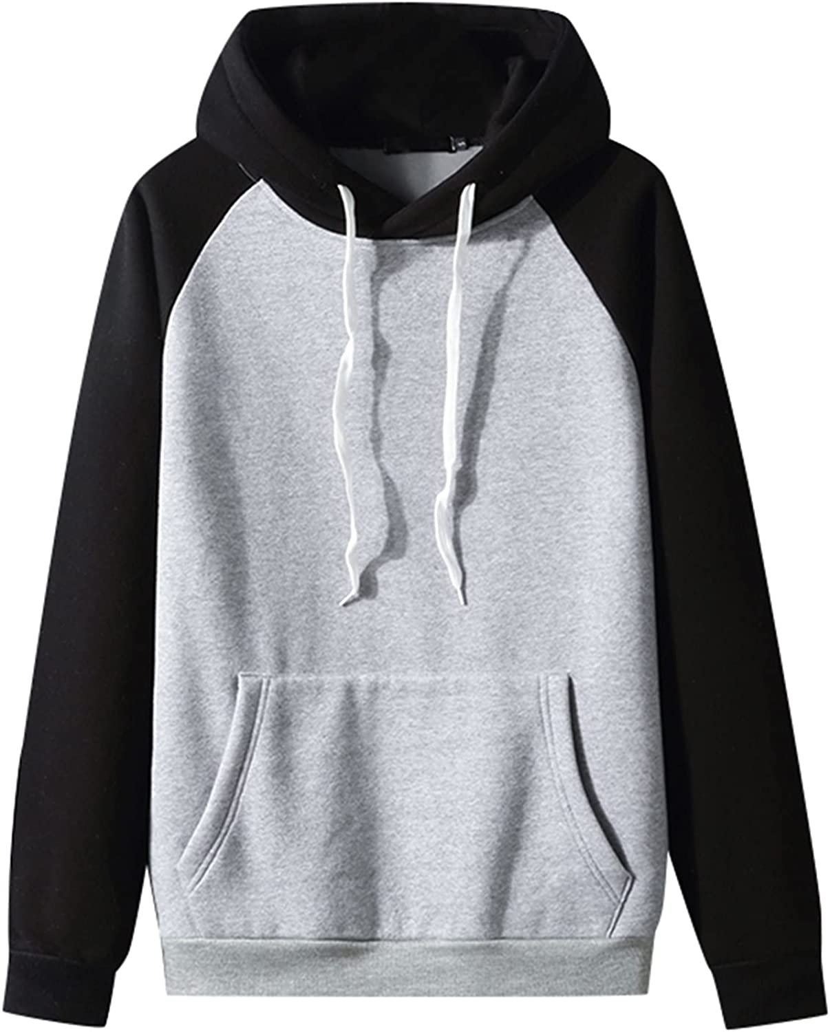Men's Autumn Pollover Hoodies Slim Casual Patchwork Long Sleeve Sweatershirts