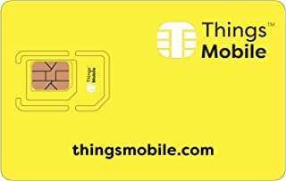 Things Mobile Prepaid SIM Card for IOT and M2M with Global Coverage without fixed costs. Ideal for Home Automation, GPS Tracker, Telemetry, Alarms, Smart City, Automotive. Credit included.